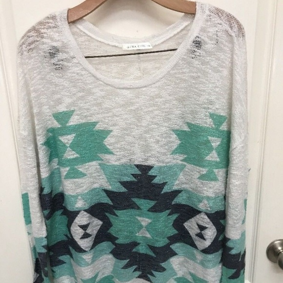 Luna Chic Tops - LUNA CHIC Women's Sweater Top Southwest PrintWhite